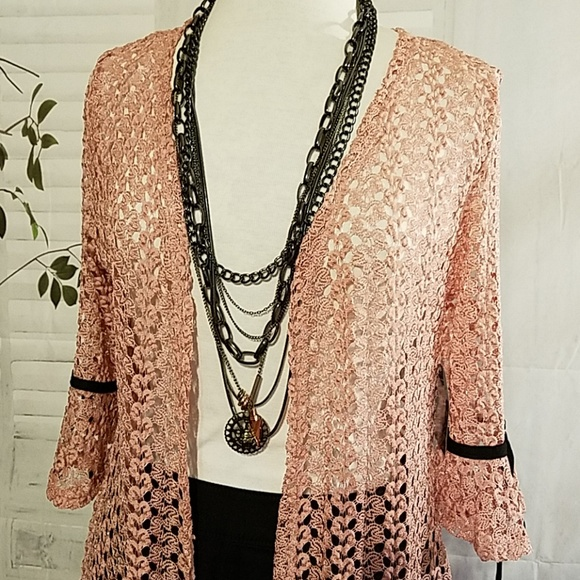 Onyx Tops - ONYX 3/4 Sleeve Lace Duster
